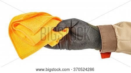 Worker Hand In Black Protective Glove And Brown Uniform Holding Unused Orange Microfiber Cloth Isola
