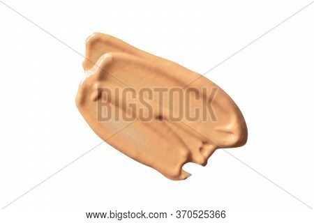 Beige Foundation Smear Isolated On White Background. Bb Cream Or Cc Cream Sample. Concealer Smudge,