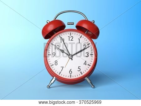 Red vintage alarm clock on bright blue background in pastel colors. Minimal creative concept. Front side. 3d rendering illustration