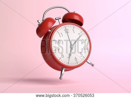 Red Vintage Alarm Clock On Bright Pink Background In Pastel Colors. Minimal Creative Concept. Front