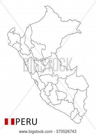 Peru Map, Black And White Detailed Outline Regions Of The Country.
