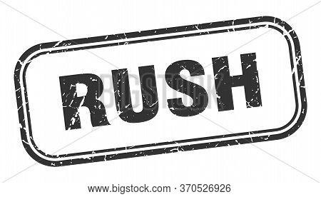 Rush Stamp. Rush Square Grunge Black Sign