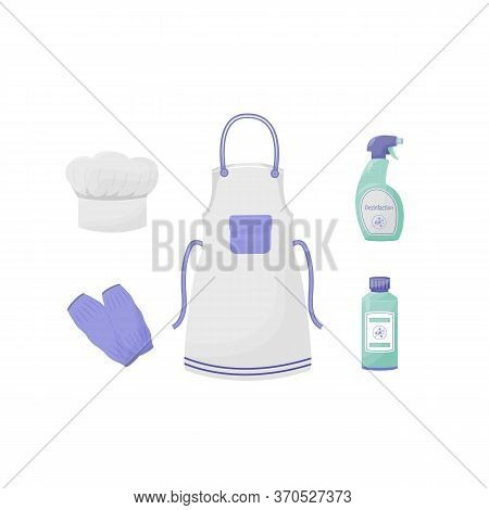 Cook Uniform And Accessories Flat Color Vector Objects Set. Kitchen Clothing And Disinfection Produc