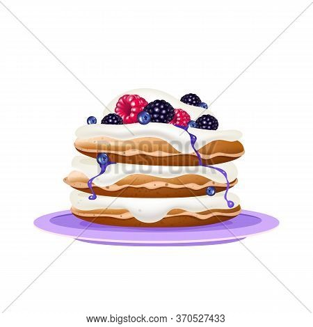 Pancakes With Cream And Berries Realistic Vector Illustration. Flour Confection On Violet Plate. Ser