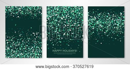 Banners Set With Sparkle Emerald Confetti On Green Back. Vector Flyer Design Templates For Wedding,