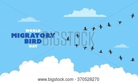 Detailed Flat Vector Illustration Of A Flock Of Migrating Birds On A Blue Background With Clouds. Wo
