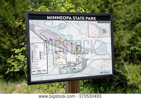 Mankato, Minnesota - June 5, 2020: Sign And Map For Minneopa State Park In Southern Minnesota, Showi