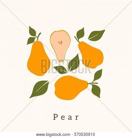 Stylish Pear Vector Design. Contemporary Art Print. Abstract Hand Drawn Pear Fruit And Leaves For Po