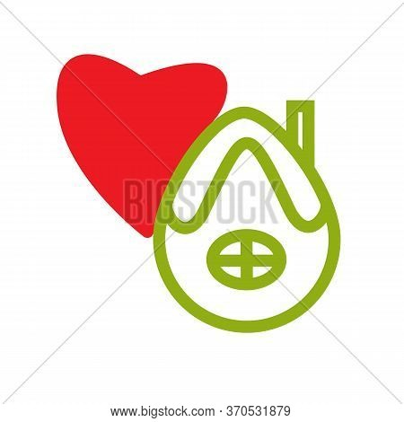 Stay Home, Heart Icons Vector Illustration. House With A Window