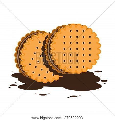 Sandwich Cookies Or Crackers With Chocolate Filling On A White Isolated Background. Vector Image Eps