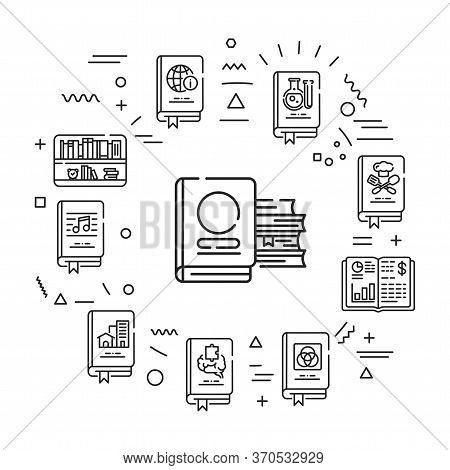 Genres Of Books Web Banner. Infographics With Linear Icons On White Background. Creative Idea Concep