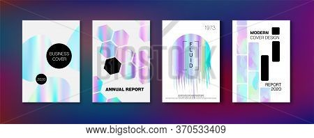 Holographic Gradient Vector Background. Iridescent Gradient Overlay Holograph Defocused Cover.  Holo