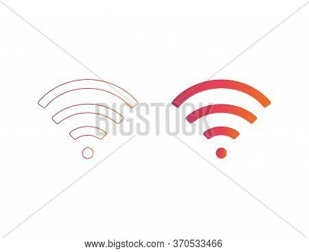 Wifi Symbol. Wireless Icon In Rainbow Style. Signal Wave In Social Netrowk Design. Free Wi Fi Techno