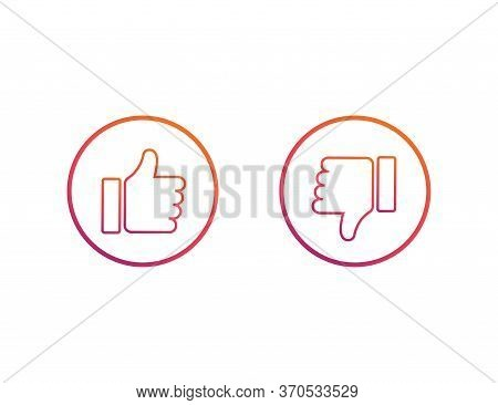 Thumbs Up And Down. Like And Dislike Symbol. Social Network Style In Colorful Rainbow Design. Isolat