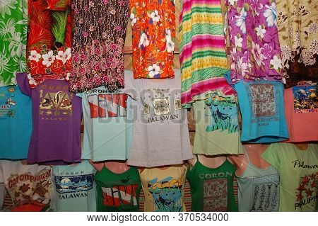 Palawan, Ph - March 9 - Coron Souvenir And Gift Shop Shirt Display On March 9, 2012 In Coron, Palawa