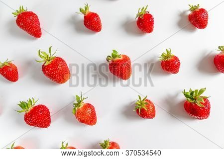 Organic Delicious Strawberry Berries Seamless Pattern On Grey Background, Top View, Flat Lay. Summer