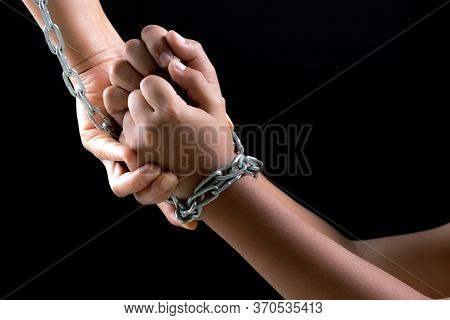 Child Hands Were Tied With A Chain. Stop Violence, Terrified,children Violence And Abused Concept.
