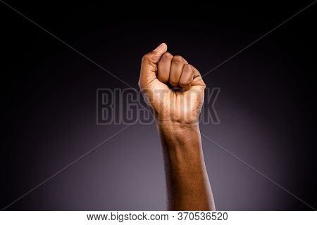 Close Up Photo Of Afro American Hand Raise Fists Ask Support African Community Stop Discrimination I