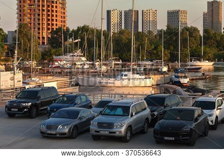 Kiev, Ukraine - June 8, 2020: The River Parking Of Sailing Yachts And Private Motor Boats On A River