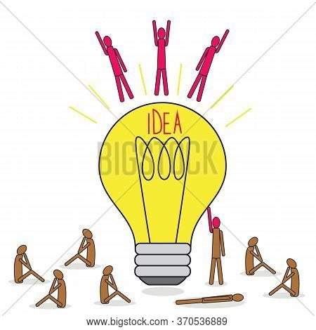 Great Idea Of Brainstorming. Flying People With An Idea From A Lamp. A Group Of People Around A Ligh