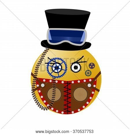 Emoticon In The Style Of Steampunk In A Mask And Hat. Watch Wheels And Emoticons In Virus Protection