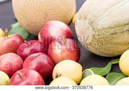 Fresh Organic Seasonal Fruits Close Up, Healthy Organic Food In Vegetarian Diet