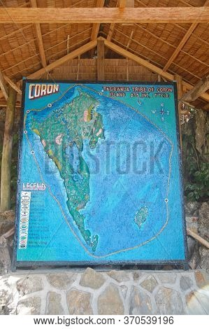 Palawan, Ph - March 7 - Coron Map At Kayangan Lake On March 7, 2012 In Coron, Palawan, Philippines.