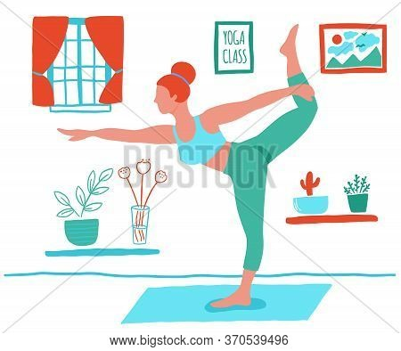 Women Exercising Yoga At Home Flat Color Trend Vector. Stay At Home Yoga Meditation Practice Cartoon