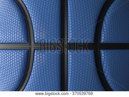Blue Basketball With Black Line Design Background. Basketball Texture. Dots Surface. 3d Illustration