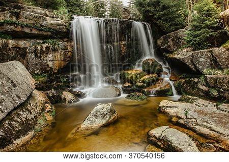 Waterfall Photo. Long Exposure Photo Of A Beautiful Jedlova Waterfall, Jizerske Mountains, Czechia.