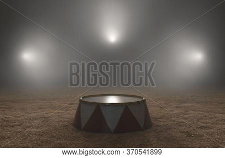 An Empty Circus Ringmasters Podium Backlit By Dramatic Spot Lights On A Dark Moody Background - 3d R