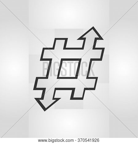 Hashtag Sign Of Linear Flowers Wth Arrows.