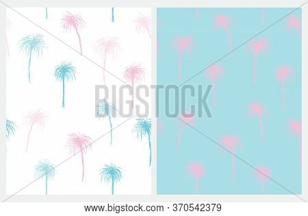 Vintage Style Palm Trees Seamless Vector Pattern. Pastel Blue And Light Pink Tropical Repeatable Des