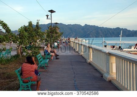 Palawan, Ph - March 7 - People Gathered At Lualhati Park On March 7, 2012 In Coron, Palawan, Philipp