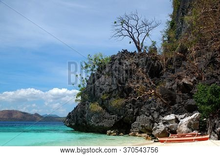 Bbh Beach Water Sand, Dock Boat, And Trees In Coron, Philippines