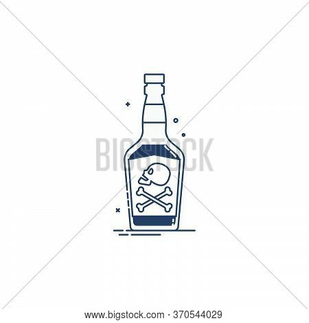 Bottle Poison Alcohol Skull In Profile For Concept Design. Dangerous Container. Potion Beverage Bar