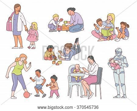 Babysitter Taking Care And Playing With Baby Sketch Vector Illustration Isolated.