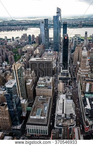 New York, Usa - June 6, 2019:  New York City. Wonderful Panoramic Aerial View Of Manhattan Midtown S