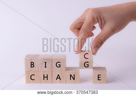 Woman Hand Flip Wooden Cube With Word Change To Chance, Personal Development Or Change Yourself Conc