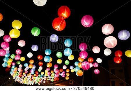 Changhua, Taiwan - Jan 20th, 2020: colorful lanterns hanging up at lukang old street, Changhua, Taiwan