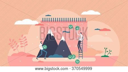 Monthly Goals Vector Illustration. Plan Control Flat Tiny Persons Concept. Business Profit Result Fo