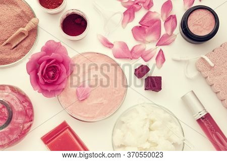 Jar With A Homemade Moisturizing Beauty Cream, Rose Flower, Infused Water Or Oil, Coconut Oil, Rose