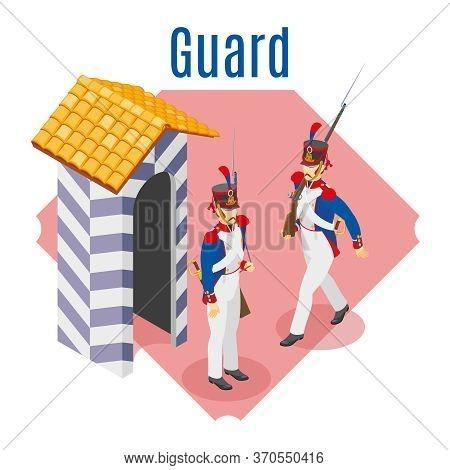 Napoleon's Grenadiers Guard Illustration Isometric Icons On Isolated Background