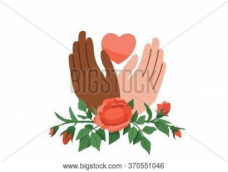 Black Lives Matter Vector Background. Say No To Stop Racism. Human Black And White Hands Hold Pink H