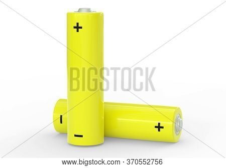 Two Yellow Aa Size Batteries Isolated On White Background Close Up, Carbon Zinc Batteries, Rechargea