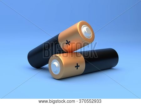 Two Aa Size Batteries Isolated On Blue Background In Pastel Colors. Alkaline Battery. Minimal Concep