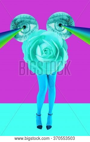 Rose Bud, Eyes And Womens Beautiful Legs In Acid Color Tights And High Heels Shoes On A Colorful Bac