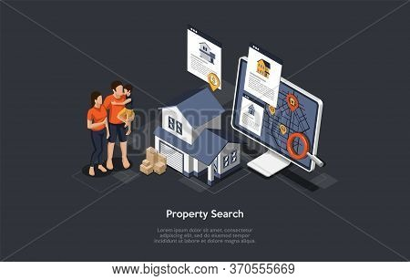 Real Estate Searching Concept. Young Family Mother, Father And Son Searching House For Buying Or Ren