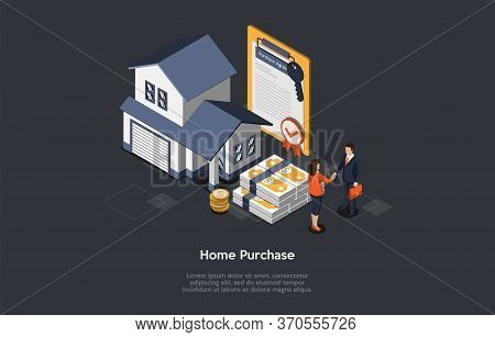 Concept Of Real Estate Purchasing. Real Estate Agent And Customer Have Signed An Purchase Agreement