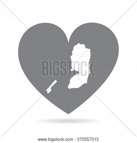 Palestine Country Map Inside A Grey Love Heart. National Pride